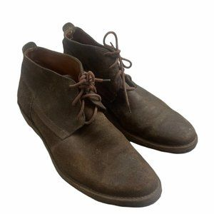 FRYE Men's Suede/Leather Brown Chukka Lace Up Boots Size 9 1/2 - Pre-Owned GUC
